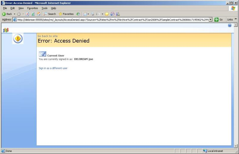 Access Denied for Joe